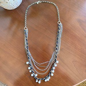 LOFT Silver Gold Pearl Multistrand Necklace